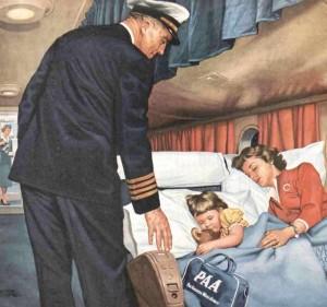 Dibujo del interior de un avión con pasajeros durmiendo