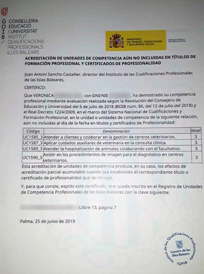 La alumna de CIM que consiguió acreditar sus competencias de asistencia veterinaria en Baleares 2