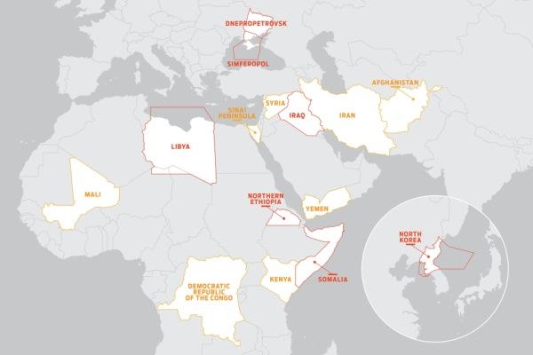 mapa del espacio aereo de riesgo