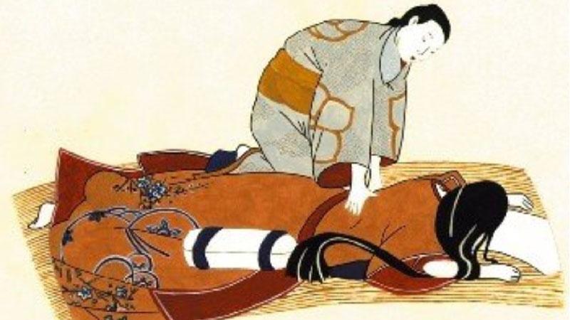 Ilustración sobre masaje shiatsu tradicional japonés