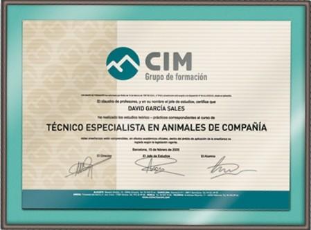 Diploma de Técnico Especialista en Animales de Compañía de CIM Formación